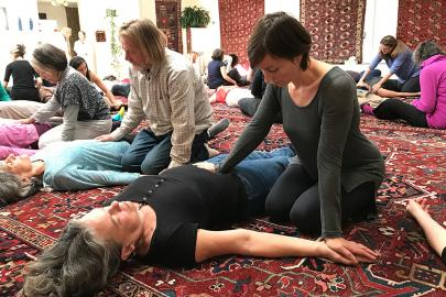 Rachel Brodsky practicing Breema at the Breema Center Intensive in Oakland CA