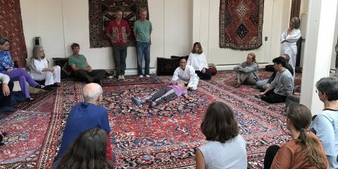 Alexis Mulhauser teaching a workshop at the Breema Center Intenive