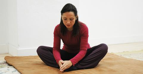 Salena Irion practicing Self-Breema exercise for body-mind connection